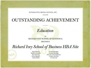 Delvinia Wins IMA Outstanding Achievement Award for Ivey HBA Site