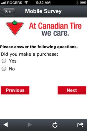 Canadian Tire - Mobile Survey