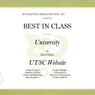 Delvinia Captures IMA Best in Class Award for UTSC Website Design