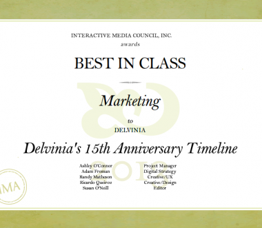 Delvinia Captures an IMA Best in Class Award for our 15th Anniversary Timeline