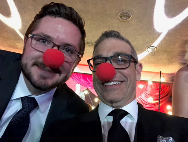 Delvinia's Steve Mast and Ryan Crawford clown around in support of the Dr. Clown Foundation.